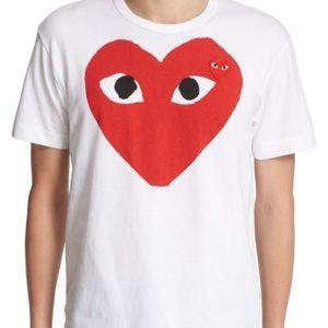 Authentic comme des garçon red and white shirt